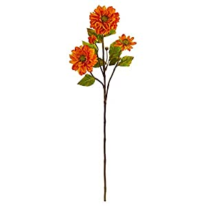 Nearly Natural 2249-S6-OR 30-in. Zinnia Artificial (Set of 6) Silk Flowers Orange 16