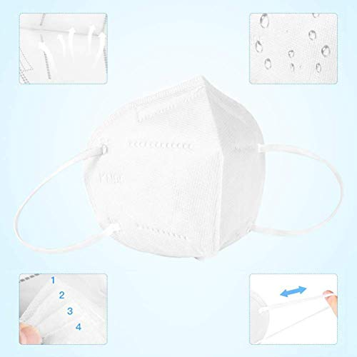 20 Pcs N95 Mask Medical Sanitary Surgical Mask Dust Breathable Earloop 5-Layer Masks Antiviral Face Mask,White