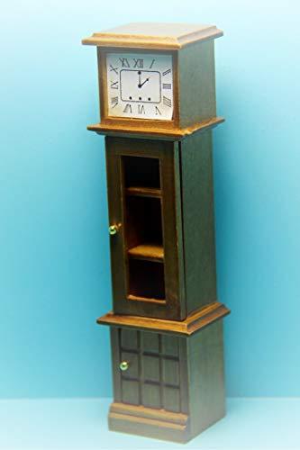 Dollhouse Grandfather Clock Curio Cabinet in Honey Walnut KL1543 - Miniature Scene Supplies Your Fairy Garden - Doll House - Outdoor House ()