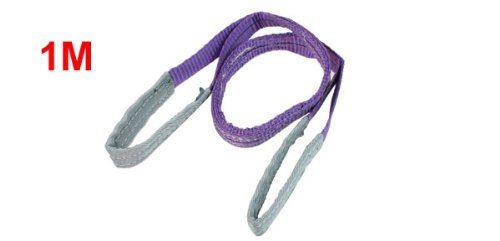 uxcell 1M Length 25mm Width Eye to Eye Nylon Web Lifting Tow Strap Purple