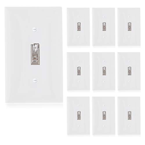 Maxxima Single Pole Lighted Toggle Wall Switch With Indicator Light On/Off White 15A, Light Switch Wall Plates Included (Pack of 10)