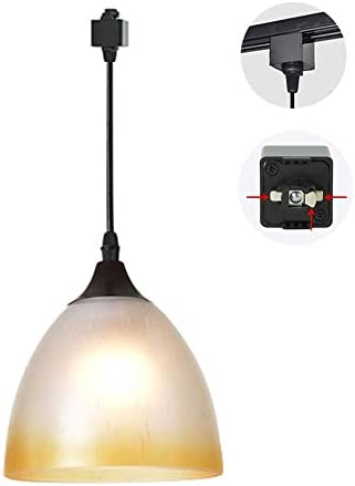 STGLIGHTING H Track Pendants Lighting Bronze Glass Shade Cone Art Ceramic lampholder Instant Dimmable Pendant Light for Cabinet Kitchen Customizable Track Lighting Bulbs Not Included,1-Pack