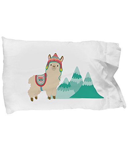 Curious to Visit Cute Llama or Alpaca and Mountains Gift Pillowcase for Kids Pillow by Curious to Visit