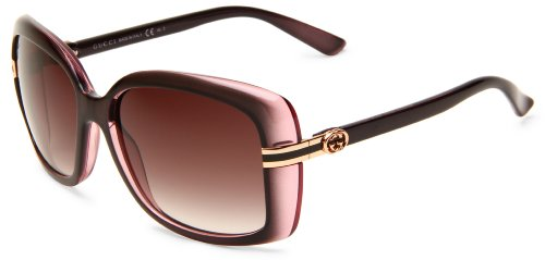 Gucci Women's 3188/S Rectangle Sunglasses,Brown & Pink Frame/Grey Gradient Lens,One Size (Brown Gucci Shoes)