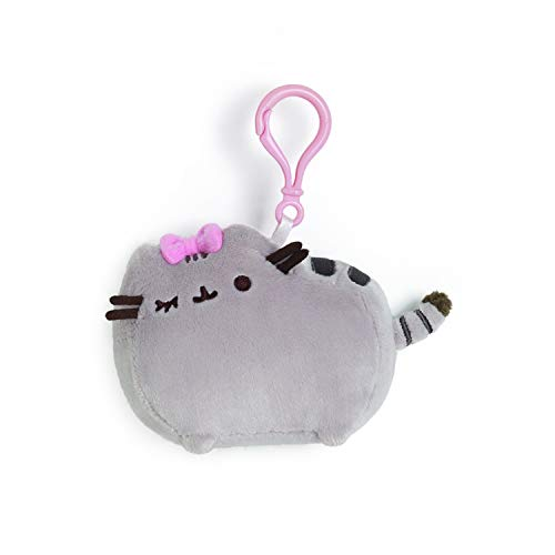 GUND Pusheen with Bow Cat Plush Stuffed Animal Backpack Clip, Gray, 4.5