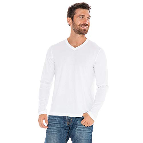 Men's Designer T-Shirt Lightweight Semi Fit Long Sleeve V-Neck 100% Organic Cotton Pre-Shrunk Embroidered - Made in USA (White, Small)