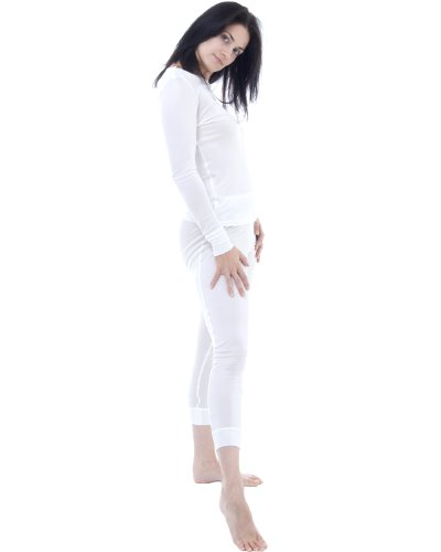 Silk thermal long john and top set - size: XXL - colour: ivory white