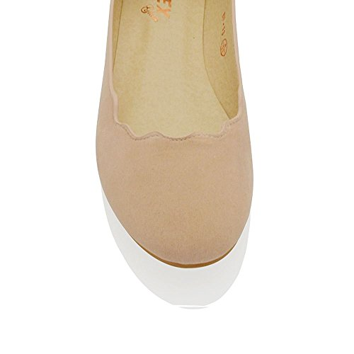 Ballerina ESSEX Nude Scalloped On Slip Suede Flat Pumps Shoes Edge Womens GLAM Faux Eqq1f