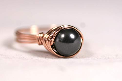 Rose Gold Black Pearl Ring Black Swarovski Pearl Ring Rose or Yellow Gold Filled Wire Wrapped