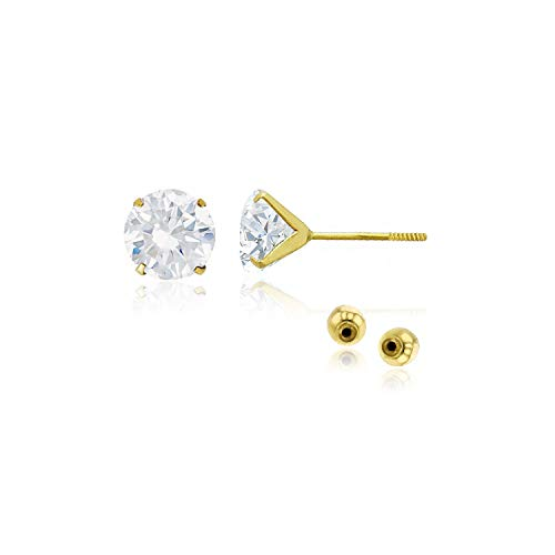 (Decadence Women's 14k Yellow Gold 6mm Round Solitaire Ball Screw Back Stud Earrings)