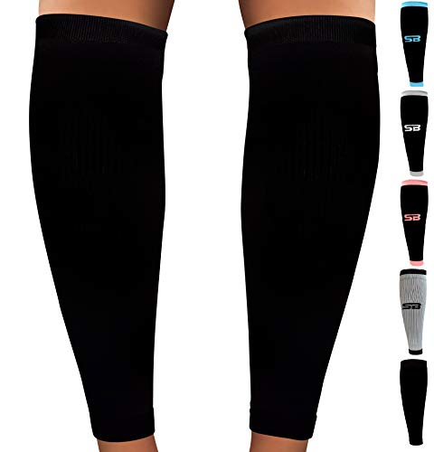 SB SOX Compression Calf Sleeves (20-30mmHg) for Men & Women – Perfect Option to Our Compression Socks – for Running, Shin Splint, Medical, Travel, Nursing, Cycling, Leg Pain (Solid – Black, Large)