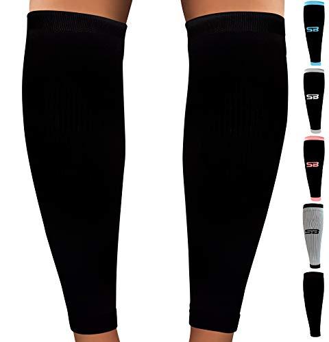 SB SOX Compression Calf Sleeves (20-30mmHg) for Men & Women - Perfect Option to Our Compression Socks - for Running, Shin Splint, Medical, Travel, Nursing, Cycling, Leg Pain (Solid - Black, Medium)