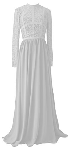 Prom Dress Bridesmaid Sheer Lace Chiffon Gown TalinaDress E288LF Womens White Long gwqgOA