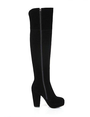 Cn38 5 Black Black Negro La Vellón Zapatos De A Plataforma Tacón Xzz Casual Punta Eu38 us7 Redonda Vestido Moda Uk6 Cn39 us8 Robusto Botas 5 Eu39 Mujer Uk5 FpnZqwxa