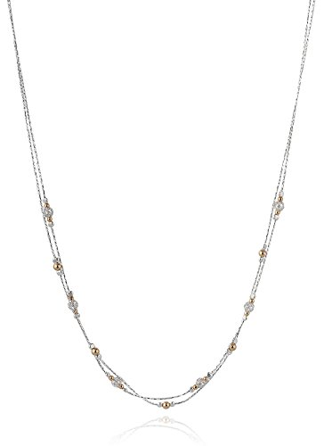 Double Strand Sterling Silver Necklace with 14k Gold Filled & Wire Net Bead Stations, 18