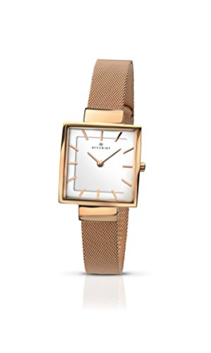 Accurist Ladies Analogue Watch With White Dial And Rose Gold Bracelet 8132