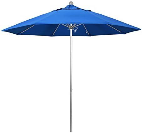 California Umbrella 9 Round Aluminum Fiberglass Umbrella, Push Open, Silver Pole, Olefin Royal Blue Fabric