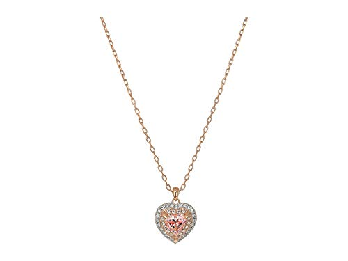 Swarovski Crystal Pink Heart Two-Tone Pendant Necklace