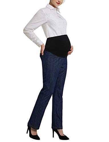 Women's Maternity Bootcut Jeans Stretch Pants Secret Fit Belly Trousers Denim Blue ()