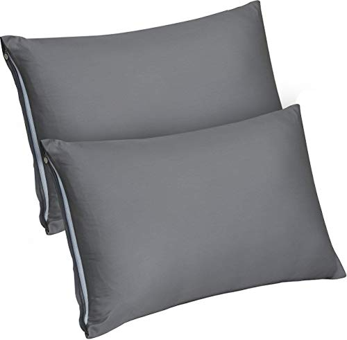 Utopia Bedding Zippered Bamboo Pillow Cases - Pack of 2 Pillow Protector- (Queen, Grey) Pillow Protector -Bamboo Sateen Pillow Encasement (20 by 30 ()