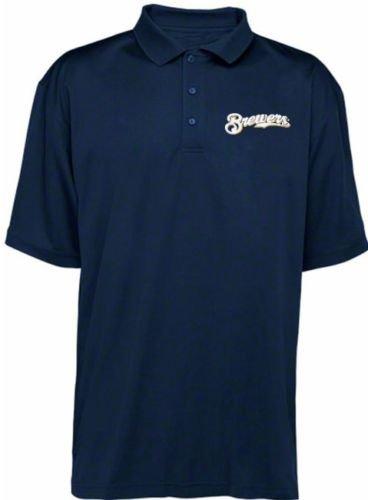 b8b37ddb Majestic Milwaukee Brewers MLB MJM Dri Fit Polo Shirt Navy Blue Big & Tall  Sizes