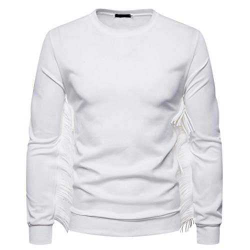 Men's Fashion Fringed Long Sleeve Sweatshirt - vermers Women Casual Western Suede T Shirt O-Neck Solid Tops Blouse(2XL, White) by vermers