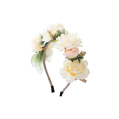 New Women Hair Accessories Girls Rose Flowers Hairbands Beach Hairwear Bridal Floral Crown Wreath Headband Hair Bands,3