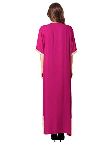 lungo 1606 abito per Musulmano AbayaJalabiya Caftano donna Maxi Rayon rosa Caftano Dubai abbigliamento qzVpSGUM