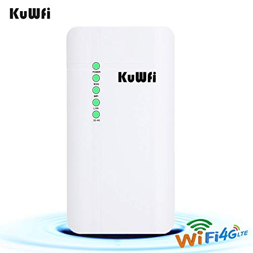 KuWFi Outdoor 4G LTE CPE WiFi Router with Sim Card Slot 150Mbps CAT4 SIM Routers for Home/Office use Easy Setu Up to 32 Users Work with IPcamera or Outside WiFi Coverage (EU Version B1/B3/B7/B8 /B20)
