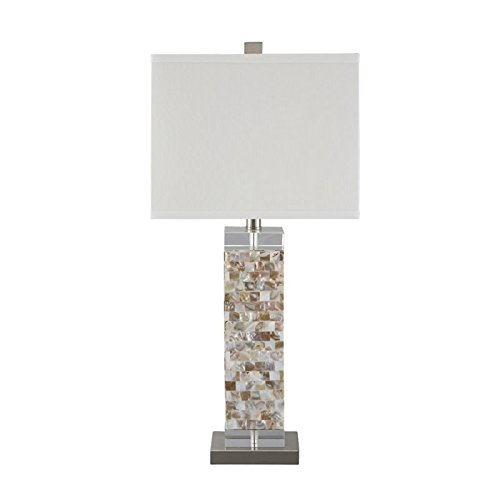 Ashley L390024 Tahira Contemporary Style Shell Table Lamp with Square Hardback Shade, Cream (Cream Hardback Shade)