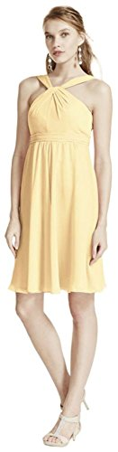 MORE COLORS Short Crinkle Chiffon Bridesmaid Dress with Halter Style F15600, Canary, 18 price tips cheap