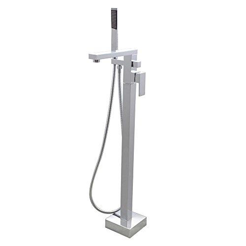 KES Brass Freestanding Tub Filler Faucet with Brass Hand Shower Head Floor Mount Chrome, L5805