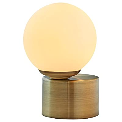 "Rivet Glass Ball Metal Table Lamp with Bulb, 10""H, Brass Finish, White - Bring a fun illusion into your home with this distinctive modern lamp. A round, milky-white glass globe balances off center for a look that will  turn heads. Its compact size makes this piece work well for ambient light on an end table or nightstand. 7"" Diameter x 10""H Metal base with glass shade - lamps, bedroom-decor, bedroom - 31HY5gUs4AL. SS400  -"