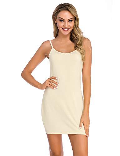 Popbee Women's Full Slip Nightwear Under Adjustable Spaghetti Strap Cami Mini Dress Nude Small