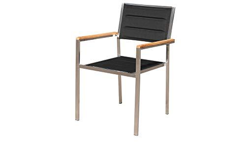 OUTFLEXX Moderner Stapelstuhl in schwarz, aus rostfreiem Edelstahl, Sitzfläche aus Textilene und Armlehnen aus hochwertigem Teakholz, Circa 62 x 56,5 x 86 cm, Holzstuhl, Sessel, wetterfest,