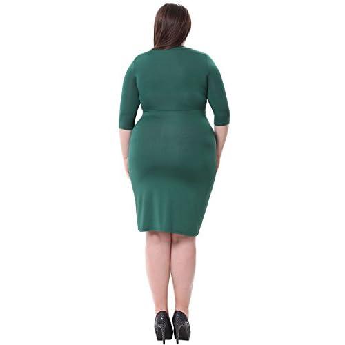 6034e03955ba2 Sapphyra Women s Plus V Neck Ruched Chest High Waist Cocktail Dress Size  1X-5X 60