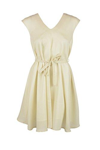 AMBALI Paris Women's Belted Sleeveless Wool Blend Flare Dress Ivory 40