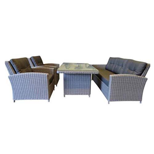 AVH Outdoor | San Diego | Stuhl und Couch Loungeset | Mit Esstisch | 6-Teilig | Zon und Wetterfest