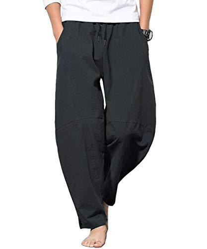 PERDONTOO Mens Linen Cotton Loose Fit Casual Lightweight Elastic Waist Summer Pants
