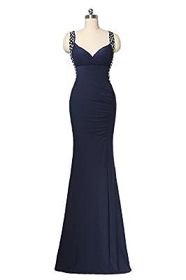 Promstar Women Shoulder V Neck Cross Long Mermaid Evening Gowns Formal Dresses