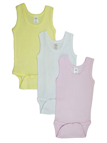 Baby Girl's Pink White Yellow Rib Knit Pastel Sleeveless Tank Top Onesie (Toddler Girls Ribbed Sleeveless Top)
