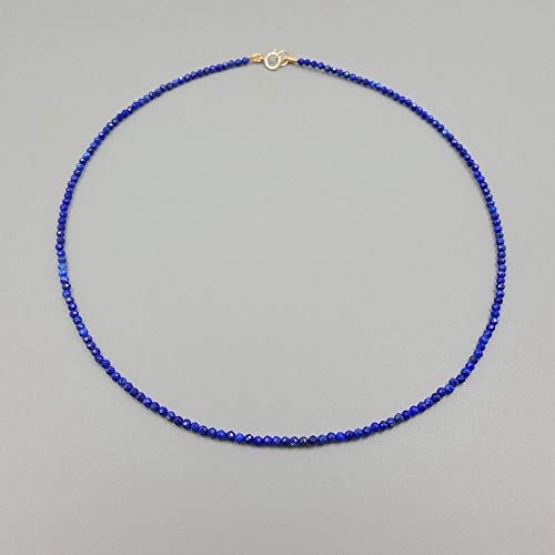 Gimax New Natural Lapiss Lazulis 2mm 925 Sterling Silver Choker Tiny Necklacc 16'' - (Main Stone Color: Blue)