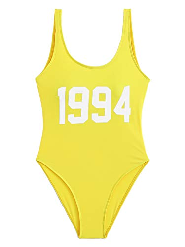 SOLY HUX Women Low Back Letter Print One Piece Monokinis Swimsuit Yellow -
