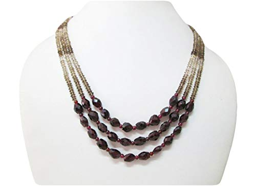 (Garnet & Smoky Quartz Multi-Strand Beaded necklace by Anushruti 16
