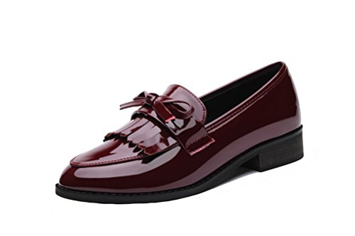 LAIKAJINDUN Womens Low Top Loafers Shoes Leather Tassels Moccasin Shoes Red