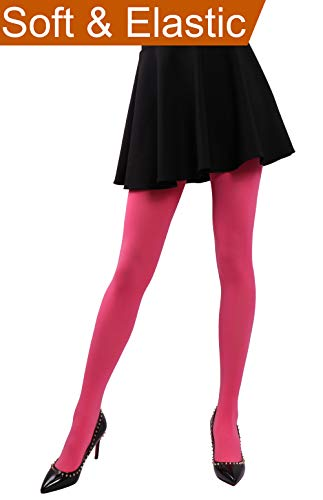 Opaque Tights Pink (HeyUU Women's Semi Opaque Solid Color Soft Footed Pantyhose Tights 2 Pack Hot pink)