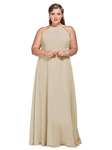 AW Halter Long Bridesmaid Dresses Maxi Formal Prom Wedding Party Dress for Women, Champagne, US8 from AW