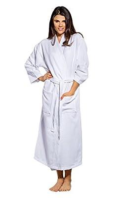 Turquaz Linen 100% Turkish Cotton White Waffle Kimono Unisex Spa Robe