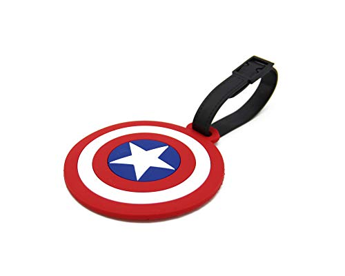 CellDesigns Cartoon Luggage Tag Suitcase ID Tag with Adjustable Strap (Captain America Shield)