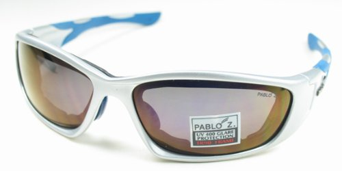 Pablo Z. Tr 90 Sport Sunglasses Genoa - With a Free Case (Metallic Silver with Blue Nose & Tips Purple/Gold Lens) (Metallic Sport Sunglasses)